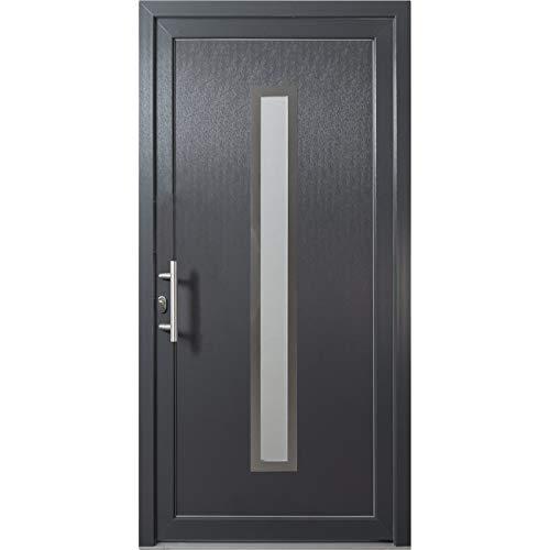 HORI® Haustür Lyon I Kunststoff Haustüre mit Glaseinsatz I Anthrazit (Innen Weiß) I Größe 2080 x 980 mm I DIN links