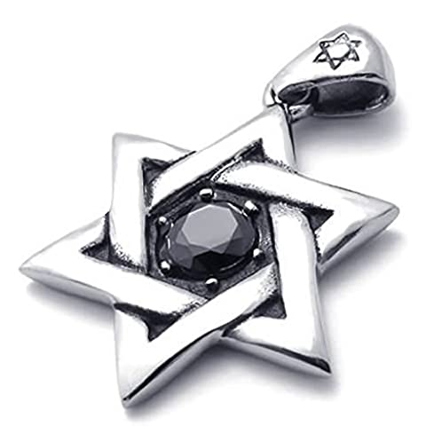 Stainless Steel Necklaces, Men's Pendant Necklace Star Of David Silver 18-26 Inch