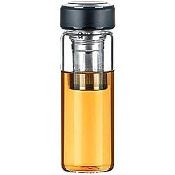Justfwater Deportes Botella de Cristal de Vidrio con Infusor de Frutas,Con Filtro Colador para Té, con Funda, Jarra de Café