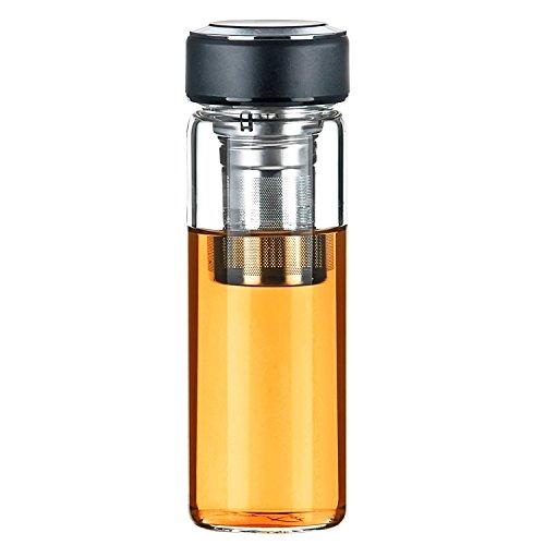 Justfwater Deportes Botella de Cristal de Vidrio con Infusor de Frutas