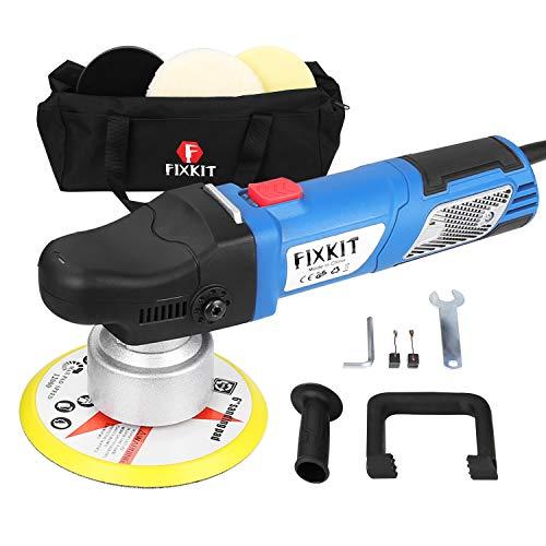 *FIXKIT 9mm-900W Exzenter Poliermaschine mit 6 variablen Geschwindigkeit inkl. Polierschwamm und Tasche für Auto, KFZ, Boot (DP502)*