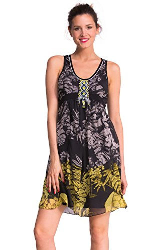 Desigual spalline vestito, Donna, nero/giallo/bianco, 40