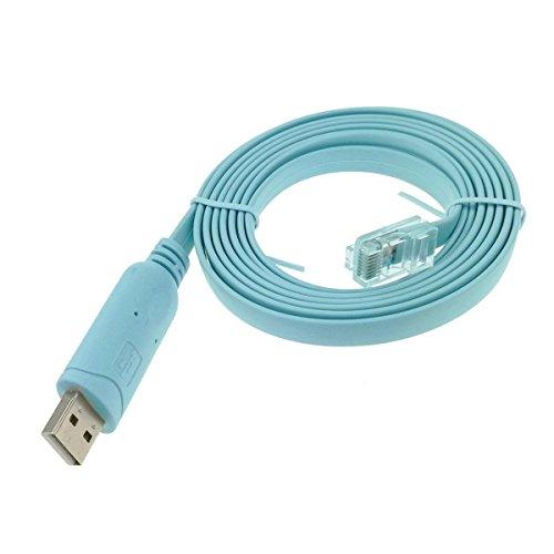 adaptare 70207 Console Kabel für Cisco USB-Stecker zu RJ45-Stecker mit RS232-Chip FTDI FT232RL 1,8m blau (Stecker Rs232-zu-usb)