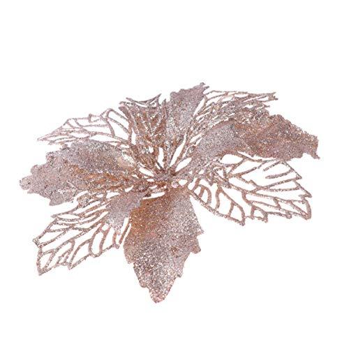 Stobok 12pcs glitter stella di natale natale artificiale stella di natale fiore artificiale decorazioni per l'albero di natale ornamenti (champagne)