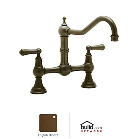 Rohl U.4751L-EB-2 Perrin and Rowe Provence Lever Handle Bridge Kitchen Faucet with Country Spout in English Bronze with 9 Reach Spout