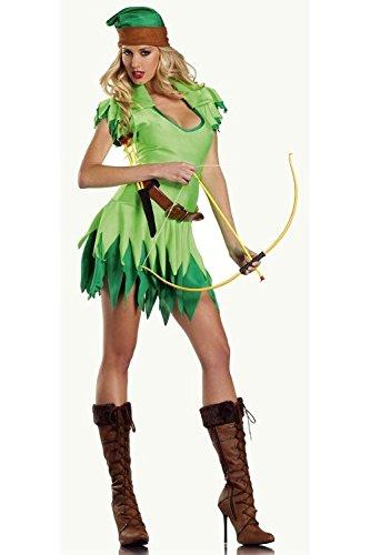 DLucc Cosplay Halloween costume play Kleidung Elf hunter green witch Parteikleid Abschlussballkleid (Green Ninja Halloween-kostüme)