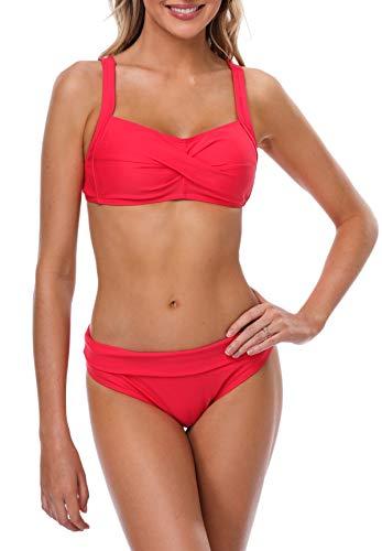 BeautyIn Damen Badeanzug ohne Bügel Zweiteilige Bademode Bikini Set Twist Volltonfarbe Faltbar BH, XXL, Rot (Bügel-bikini)