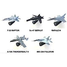 JUEGO DE 5 AVIONES 1:100 F-22 BERKUT RAFALE THUNDERBOLT MIG-29 - AIRCRAFT