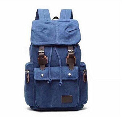 tela tempo libero Maschio / femmina zaino impermeabile indossare Grande capacità zaino 35L Può mettere Libri A4 ipad moda Ogni giorno , deep blue deep blue