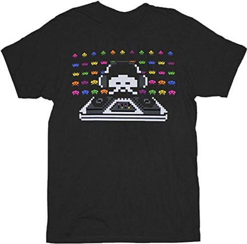 Official Space Invaders Cosmic Dj Black Adult T-Shirt - S to XXL