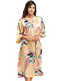 CHENGYANG Women s Kimono Robes Peacock and Blossoms Satin Nightwear Long Dressing  Gown c458aa2b8