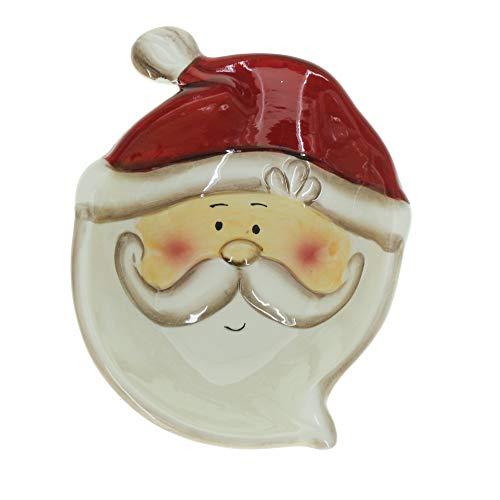 STEFANAZZI 1 Piatto con Babbo Natale Decorazione di Natale Ceramica Dipinta Regalo Natalizio Decorazioni per la casa per Tavolo sopraobili Natalizi