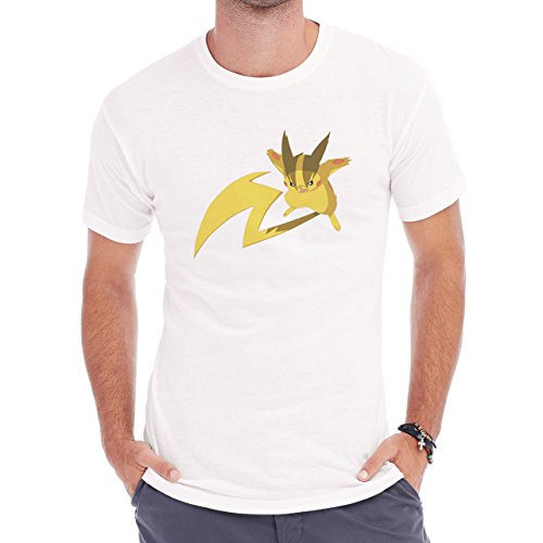 Pokemon Raichu Electric Pikachu Big Tail Herren T-Shirt Weiß