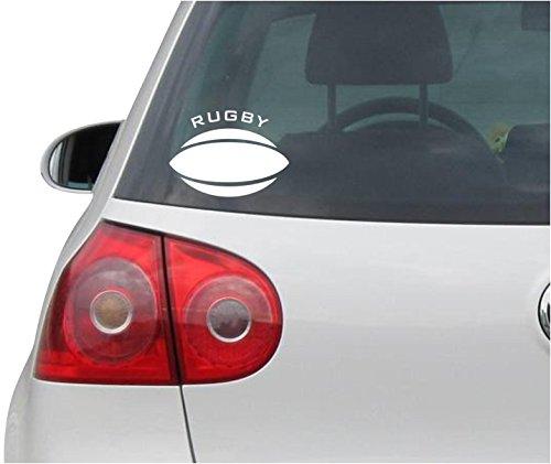 Aufkleber / Autoaufkleber - JDM - Die cut - RUGBY BALL Decal Window Laptop Vinyl Sticker - weiß - 116mmx88mm