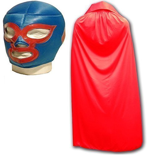 Nacho Libre mexikanischen Wrestlers Erwachsene Wrestling Maske und rotem (Cara Sin Kostüm Uk)