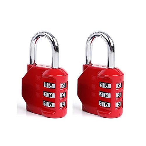 Donjon Reisegepäckschlösser, Schubladenschloss, Türschloss, 3-stelliges Zahlenkombinations-Sicherheitskabel-Vorhängeschloss rot -