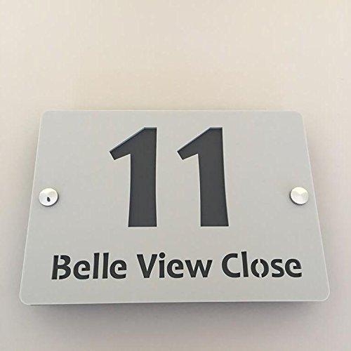 rechteckig Hausnummer & Street Name Sign–Licht Grau & Graphit matt Finish (Chrom Poliert Acryl Matt)