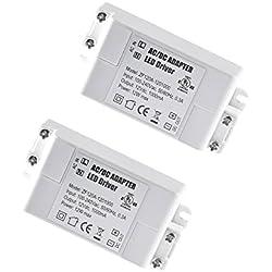 YAYZA! 2-Paquete Transformador de Conductor LED de Bajo Voltaje IP44 12V 1A 12W Fuente de Alimentación Conmutada de CA/CC