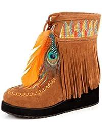 YaXuan Botines para Mujer, Otoño Invierno Estilo Indio Botas con Flecos Retro Flock Chunky Feather Mujeres Tobillo Botas Cortas Borlas Tamaño Grande Zapatos Tamaño (Color : Amarillo, tamaño : 43)