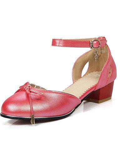 WSS 2016 chaussures pour femmes pu été / bureau de talons à bout rond&carrière / casual talon bas bowknot / boucle noir / rose / rouge / blanc pink-us9.5-10 / eu41 / uk7.5-8 / cn42