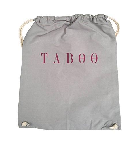 Comedy Bags - TABOO - LOGO - Turnbeutel - 37x46cm - Farbe: Schwarz / Silber Hellgrau / Fuchsia