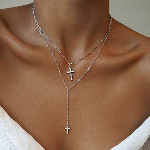 Yean Kreuz Anhänger Halskette geschichtetes Silber Kreuz Choker Schmuck Kette mit Kristall für Damen und Mädchen