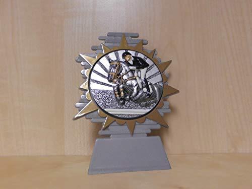 Fanshop Lünen Reiten - Reiter - Springen - Pferde - Reitsport - Pokal (mit 70mm Emblem) - Resin - 3D-Optik - Ständer - Trophäe - Pokale - Turnier - Geburtstag - mit Gravur -(a281) -