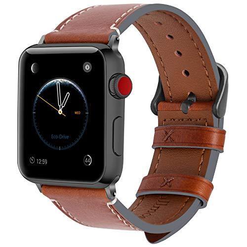 Fullmosa Für Apple Watch Armband 42mm Leder in 8 Farben für iwatch Series 3 2 1,Dunkelbraun + Dunkelgrau Schnalle