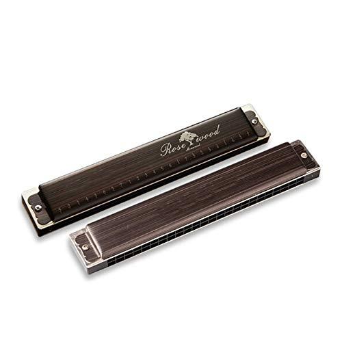 CHUJIAN Mundharmonika, 24-Loch-C-Ton Polyphone Professionelle Performance Level Harmonica, Erwachsene Kinder Anfänger Eintritt for Männer und Frauen Allgemein Style (braun, 18.2 * 3.1 * 2cm)