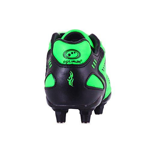 Optimum Jungen Tribal-Velcro 6 Stud Fußballschuhe Green (Fluro Green/Black)