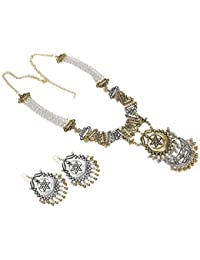 Aradhya Stylish Boho Afgani Dual Tone Golden And Silver Necklace With Earrings For Women And Girls