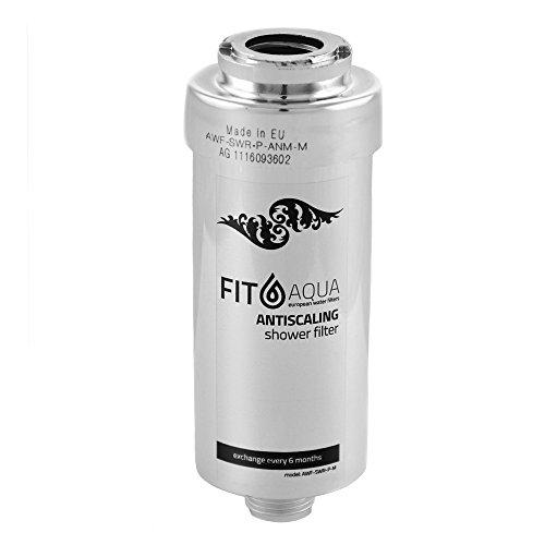 Fit aqua AWF-SWR-P-ANM-M Antikalk Duschfilter (Chrom) gegen Kalk und Chlor. Reduziert Haarausfall und Hauterretation, schon Metal design, in Dusche oder Bas einschrauben, Made in EU