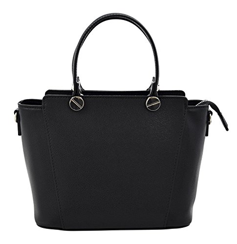 ADRIANA Top-Handle Bag Tote Handbags Women's Genuine Leather Made in Italy Handcraft-black
