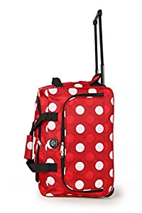 Wheeled Cabin Pull Suitcase Cabin Trolley Holdall Luggage Unisex Ryanair BMI (Polka Dot Red)
