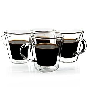 Janazala Espresso Cups Shot Glass Set of 4, Double-Wall Insulated Clear Glass Coffee Cups, Borosilicate Glass, Model TRAPEZIO, 3.5 oz, 100 mililiter