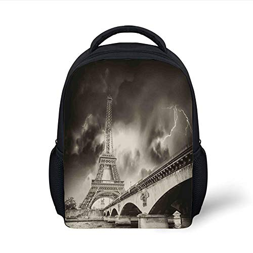 Kids School Backpack Eiffel Tower,Storm Above Eiffel Tower Dramatic Night Sky View with Flash of Lightning Dark Clouds,Gray Plain Bookbag Travel Daypack