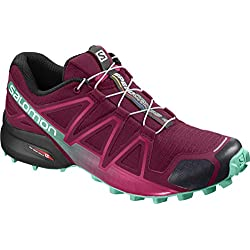 Salomon Speedcross 4 W, Zapatillas de Trail Running para Mujer, Rojo (Beet Red/Electric Green/Black), 39 1/3 EU