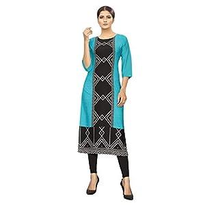 1 Stop Fashion Women's Sky Blue Colour Crepe Digital Print Knee Long W Style Kurta/Kurti