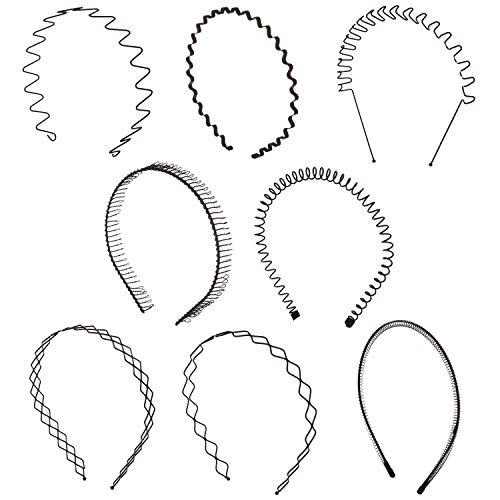 Folora Unisex Haarreif, gewellt, Metall, Schwarz, 8 Stück -