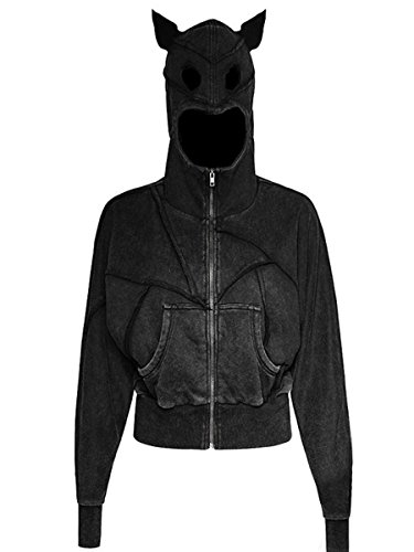 Dark Dreams Gothic Batcave Visual Kei Punk Rave Jacke Kapuze Hoodie Pullover Cat Katze for women, Größe:S/M (Rave Kapuze)