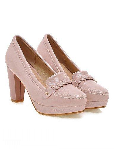 WSS 2016 Chaussures Femme-Bureau & Travail / Habillé / Décontracté-Rose / Blanc / Beige-Gros Talon-Talons-Talons-Similicuir beige-us8 / eu39 / uk6 / cn39