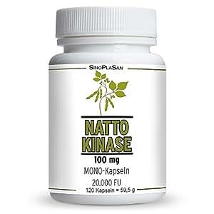 Nattokinase 100mg pro Kapsel (vegan), 120 Kapseln, 20.000 FU, ohne Vitamin K & K2, ohne Magnesiumstearat