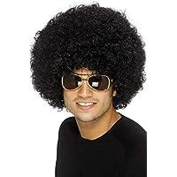 Smiffy's 42017 - Peluca Funky Afro de los 70, 120g, color Negro, Tamaño único