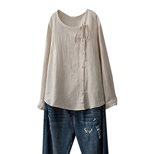 kolila Plus Size Leinen Shirt Tunika Damen Lose Langarmshirts Lässige Asymmetrische Button-down Bluse mit Schleife