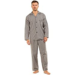 Pijama de hombre Haigman de rayas, 100% de algodón, pantalón y manga largos, formal gris Grey Stripe Large
