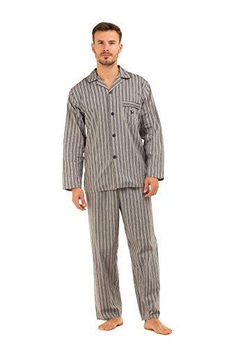 Herren HAIGMAN bedruckt 100% Baumwolle lang Pyjama Nachtwäsche Lounge Wear - grau Streifen, X-Large 44-46 Chest (Lounge-set Herren)