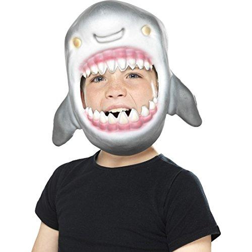Amakando Haifisch Maske Tiermaske Fisch Faschingsmaske für Kinder Raubfisch Karnevalsmaske Hai Kostüm Accessoire Kindermaske Hai