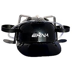Idea Regalo - EKNA Bere casco casco da birra nero con portabevande per lattine e bottiglie per mescolare o bere velocemente - il bavaglio per qualsiasi festa - bere con divertimento