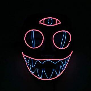 Queta Halloween Masken LED Leuchten Maske Halloween Accessoires Karneval Maske für Festivalparty Cosplay Batterie Angetrieben (Dreiäugiges Monster)