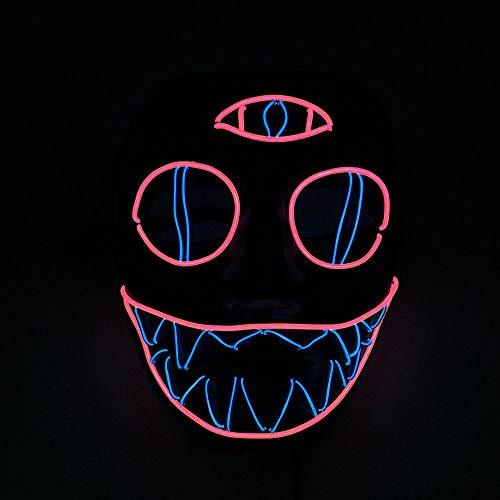 Monster Kostüm Rave - Queta Halloween Masken LED Leuchten Maske Halloween Accessoires Karneval Maske für Festivalparty Cosplay Batterie Angetrieben (Dreiäugiges Monster)